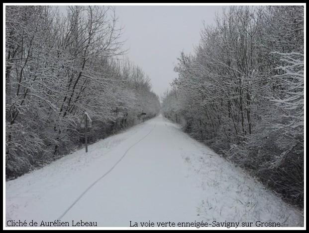 La voie verte enneigée à Savigny sur Grosne